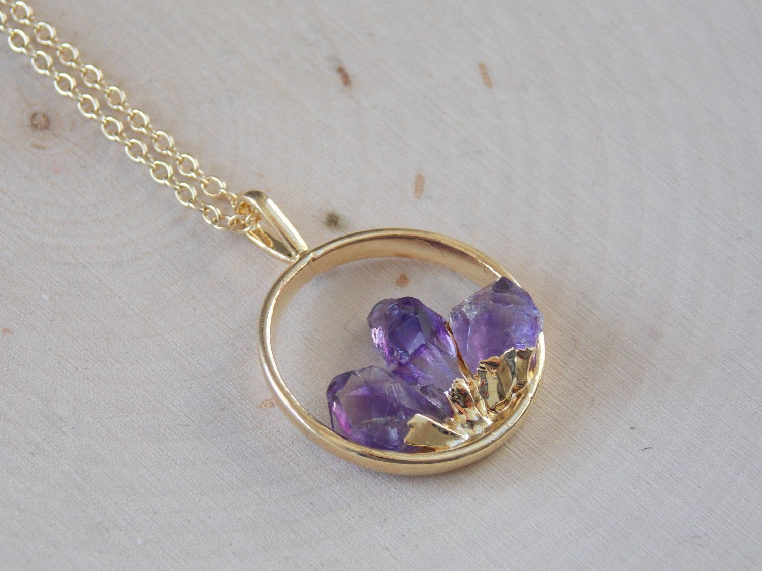 product necklace bright amethyst pendant raw crystal collection eyes