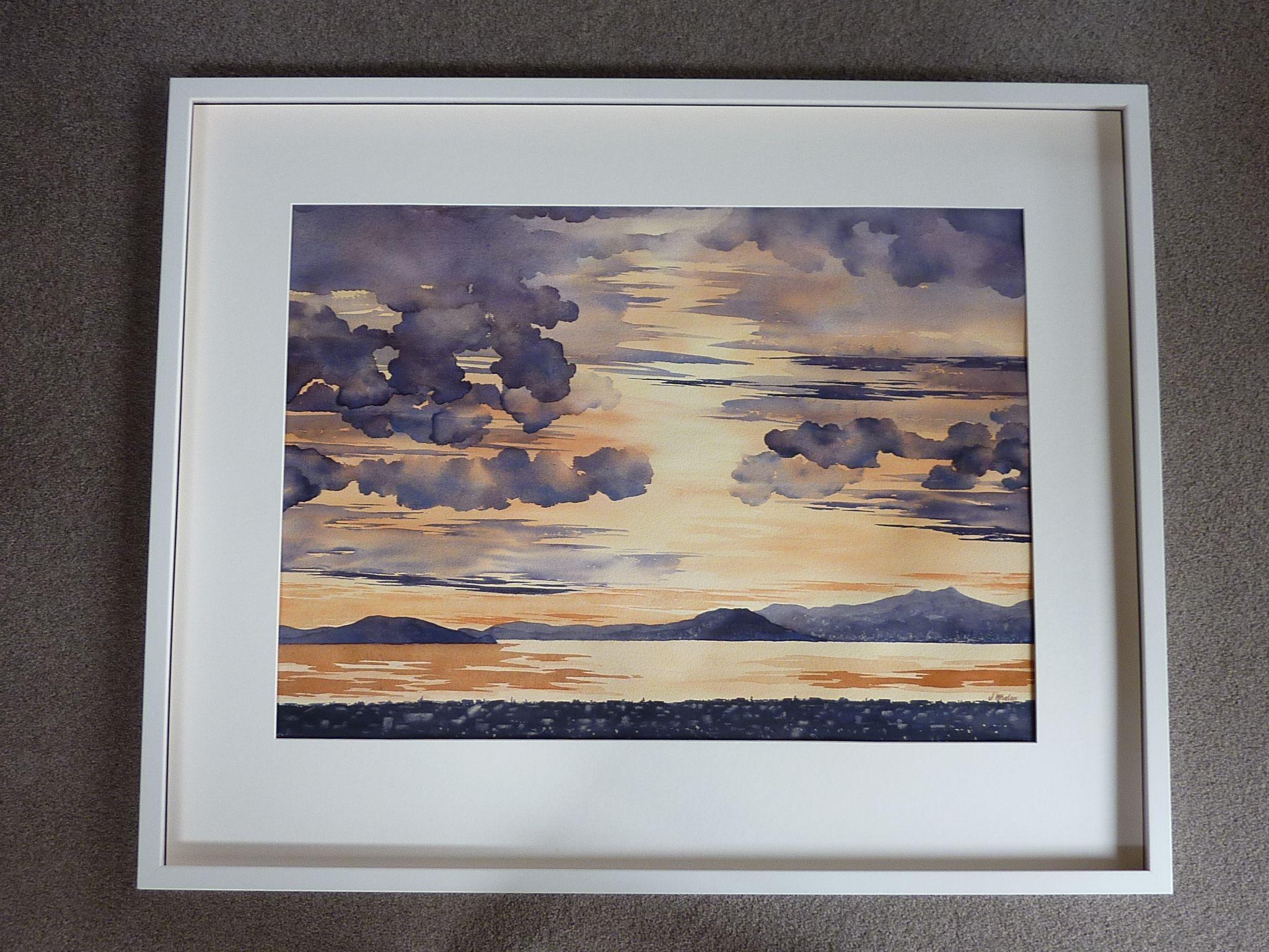 Watercolour Original By Janet Whalen Wellington Harbour Sunset