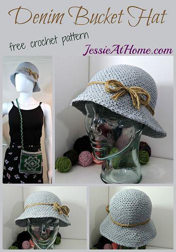 Denim Style Crochet Bucket Hat Free Crochet Pattern Crochet Hats Crochet Hats Free Pattern Crochet