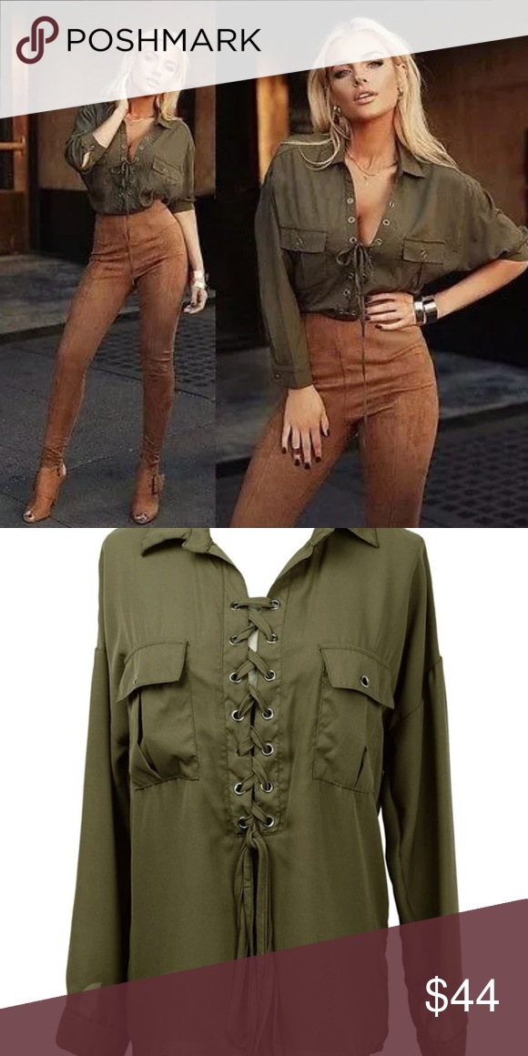 2b86075e46 Sexy lace up chiffon blouse bandage Sexy woman s long sleeve lace up  chiffon top in army green! Available in more colors in my closet! Bundle  and save!