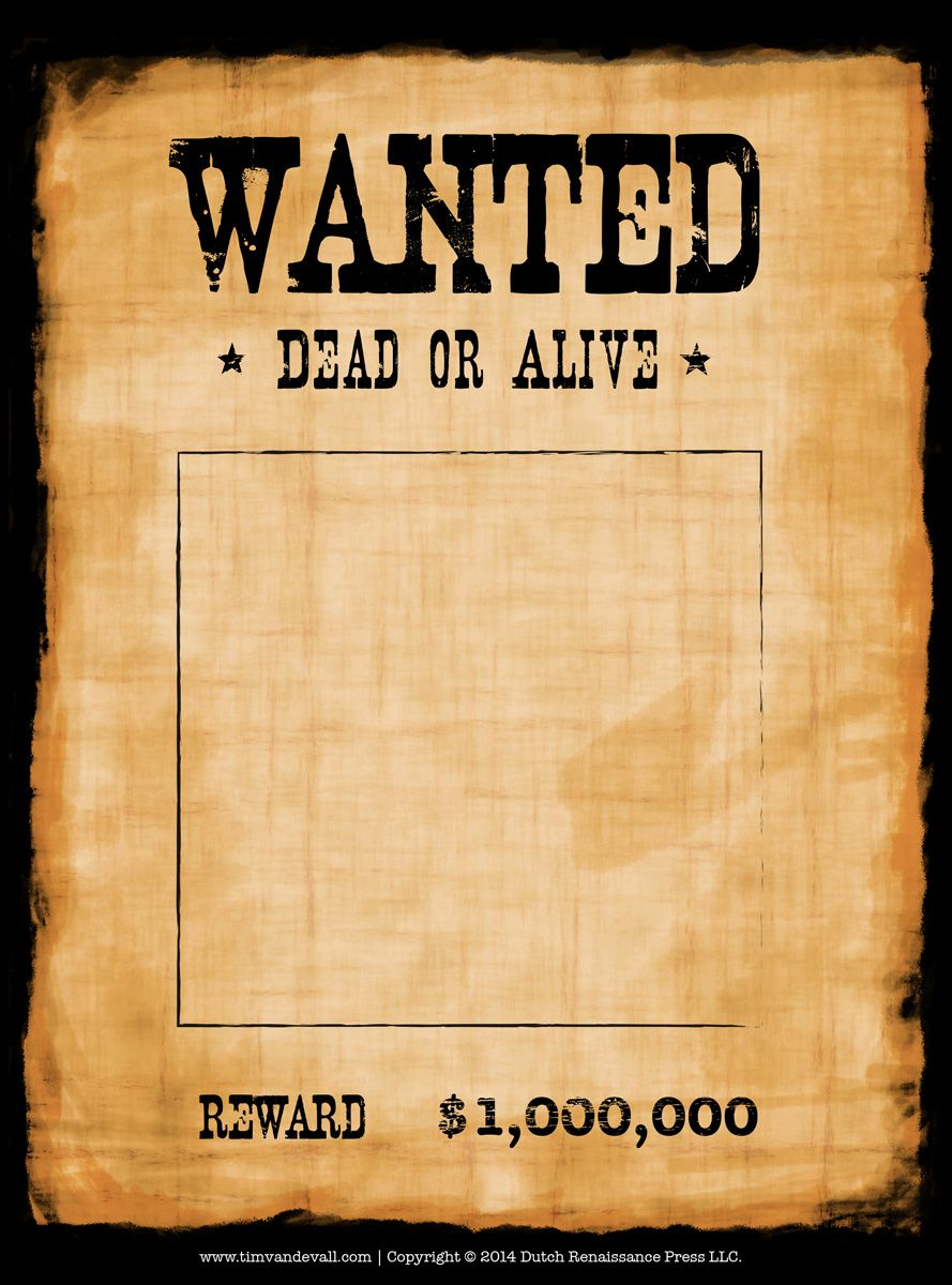 Another high caliber wanted poster template. Reprinted in shades of ...