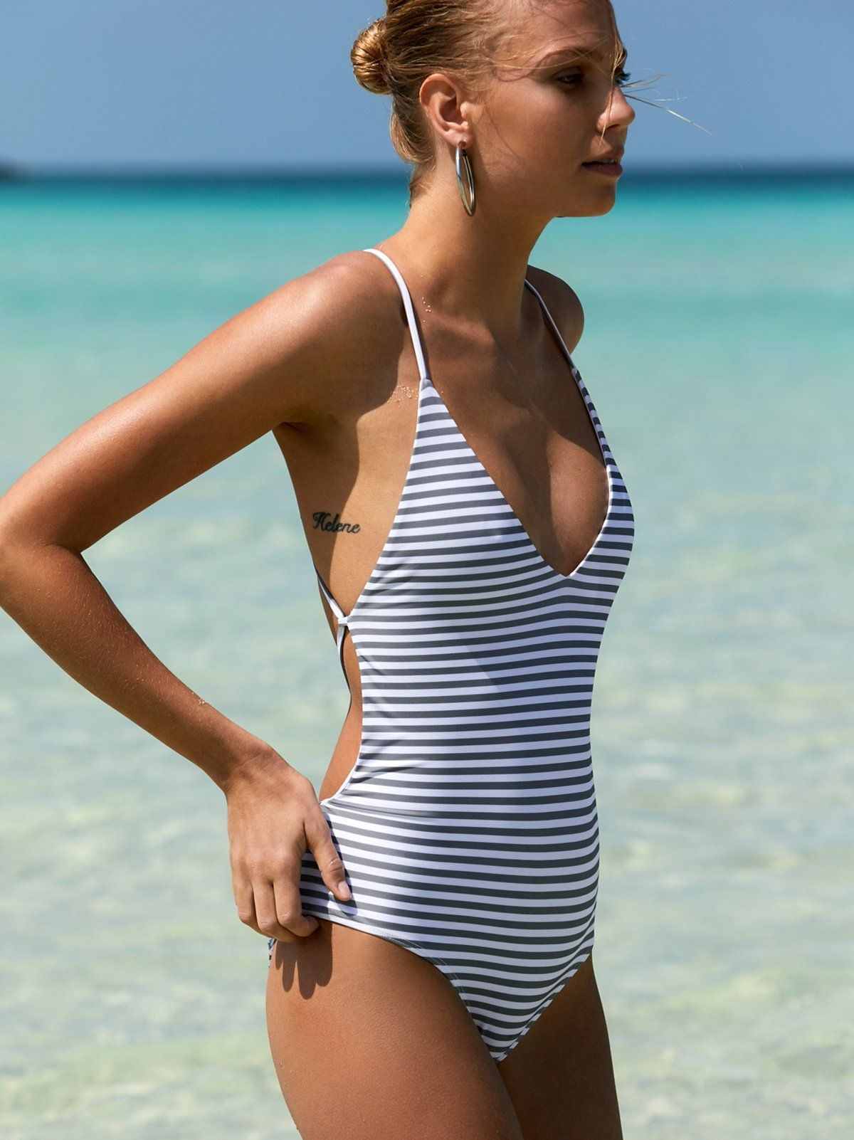 2978aa0a61 Farrah One Piece Striped Swimsuit | American made striped one piece swimsuit  featuring a plunging V-neckline. * Open strappy back * Cheeky bottom fit ...