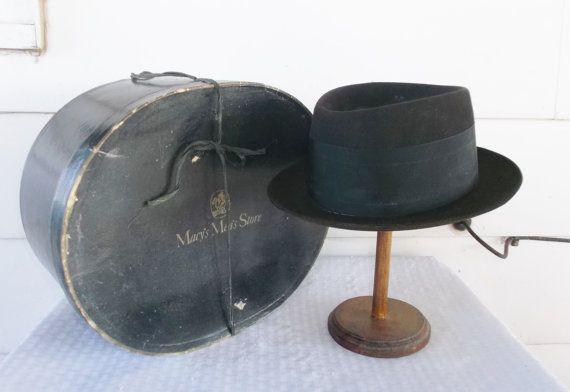 1950s Vintage Men s Pork Pie Hat From Macy s with Original Box Size 7 1 8 0c0664c0fc91