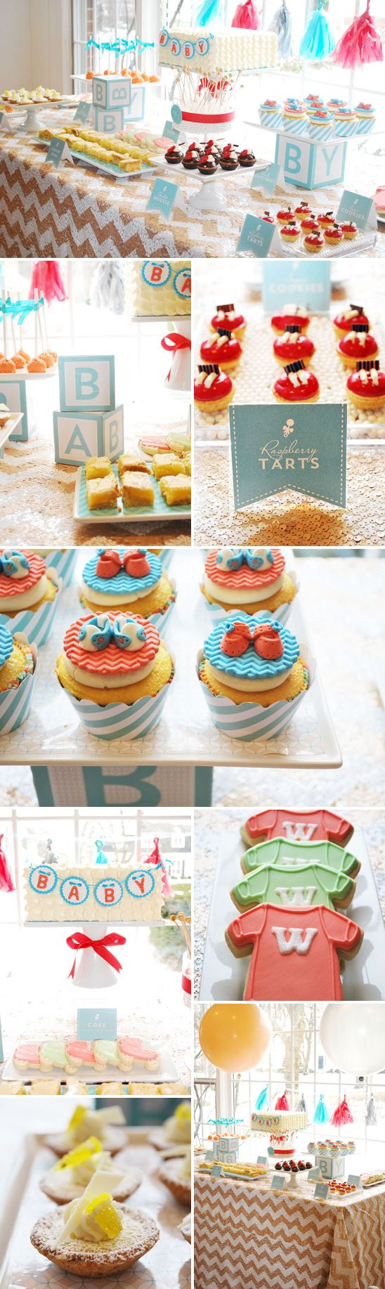 Dessert table in aqua and coral with a sequined chevron table cloth