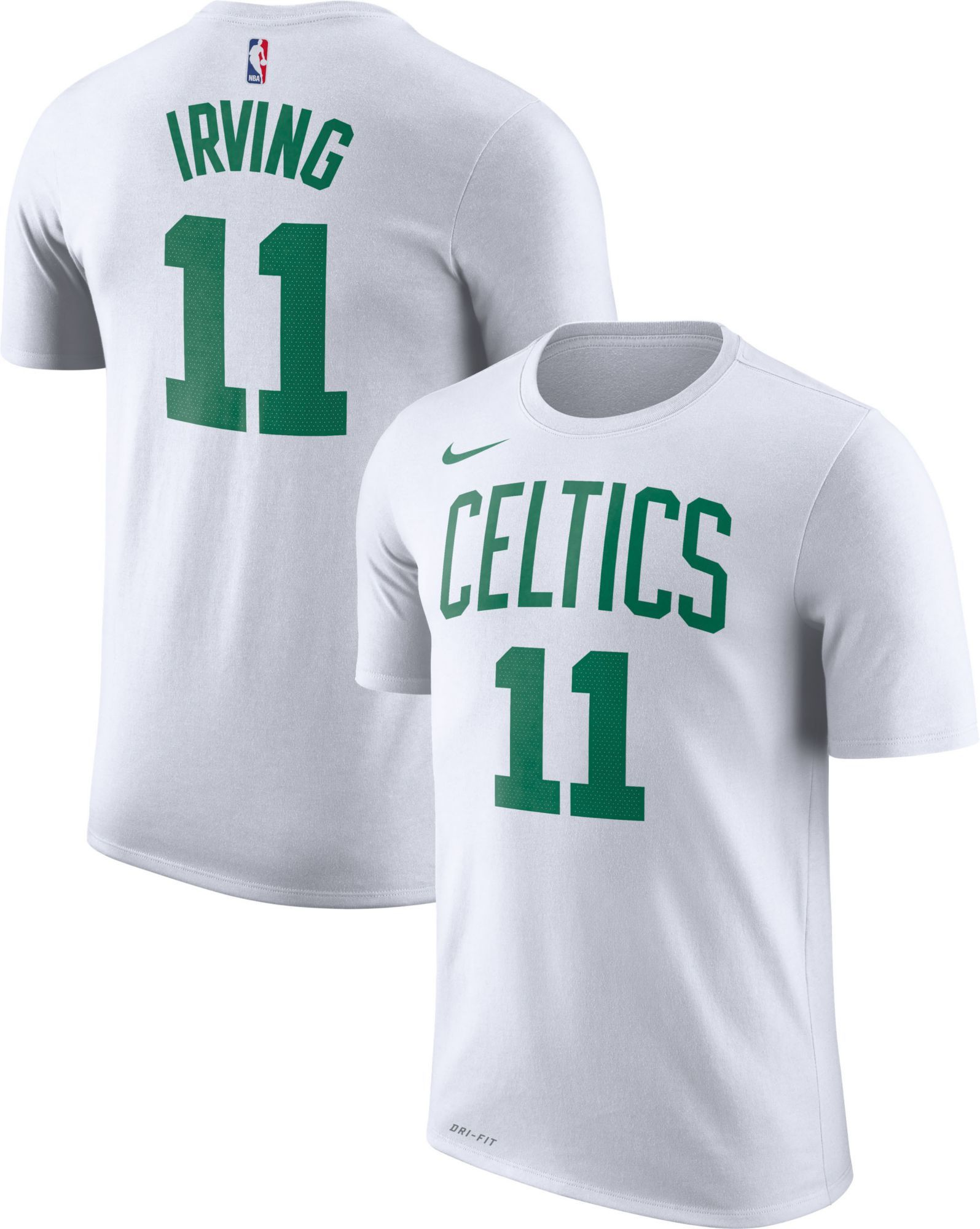 brand new 04d4b ec9d4 Nike Youth Boston Celtics Kyrie Irving #11 Dri-FIT White T ...