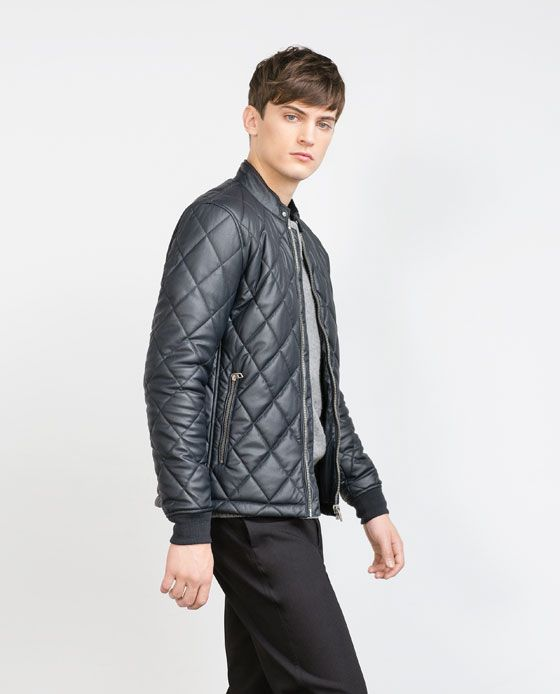 Image 2 of FAUX LEATHER QUILTED JACKET from Zara