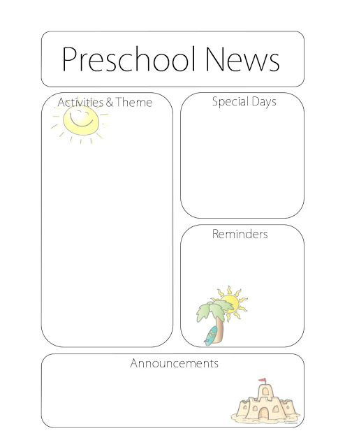 Preschool Newsletter Templates Towerdlugopisyreklamowe