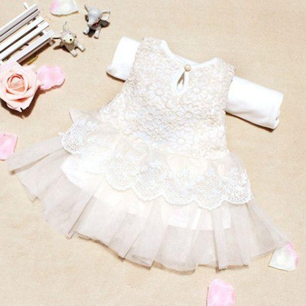 Baby Kleinkind Mädchen Kleider Kinder Kleidung Baumwolle Kinder Bogen Spitze Ballkleid Lässig Prinzessin Kleid