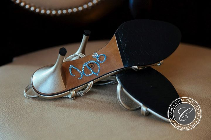 "Bridal sandals with ""I Do"" in blue. #shoes #classicdigitalphotography https://classicdigitalphotography.com"
