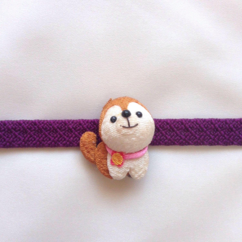 Obidome, Japanese dog chirimen obidome, ornament for