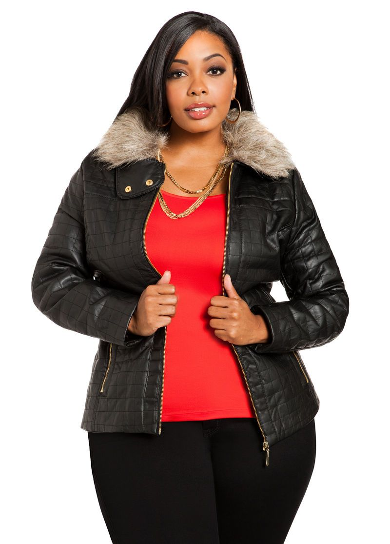 62decb3da5ddd Hooded Faux Leather Jacket - Ashley Stewart
