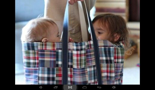 2 babies in a bag :-) :-)  that should be a punchline