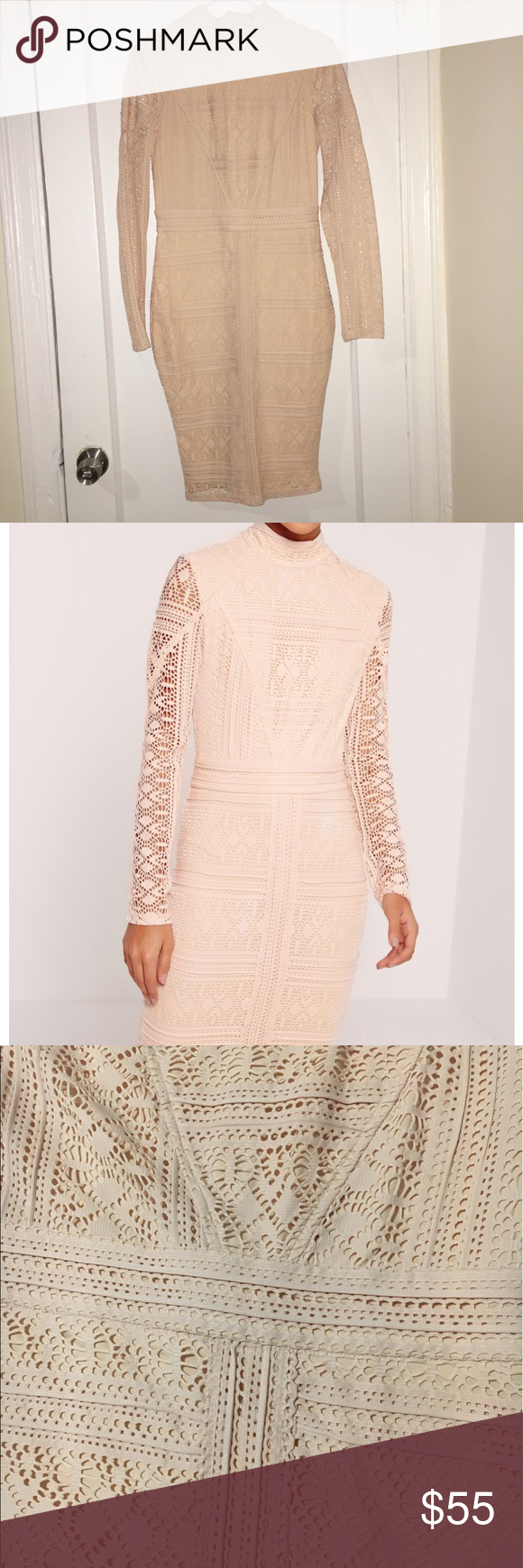 Missguided lace long sleeve high neck midi dress missguided lace