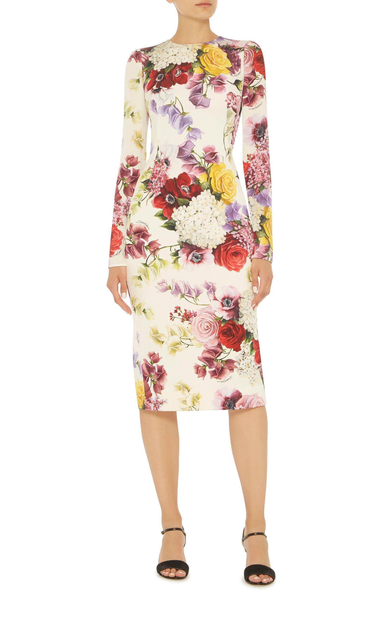 Dolce Gabbana Floral Stretch Silk Midi Dress Womens Designer Fashion Silk Midi Dress Fashion Dresses [ 2560 x 1598 Pixel ]