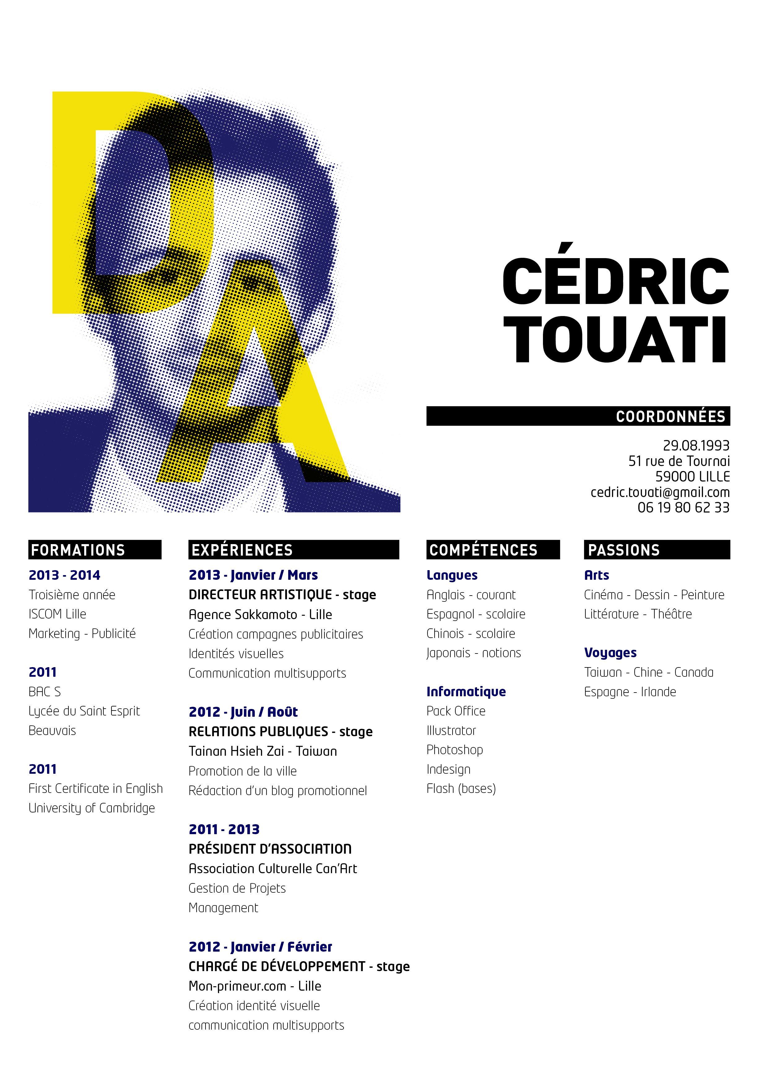 Cedric Touati Directeur Artistique Art Director Cv Resume Directeur Artistique Idee Cv Artiste