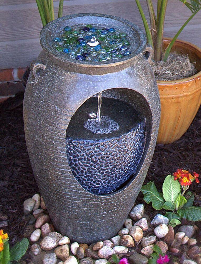 Outdoor Water Fountain Cascade Waterfall Stone Pot Urn Electric Led Light Indoor Cascade Pot Water Fountains Outdoor Water Fountain Fountains Outdoor