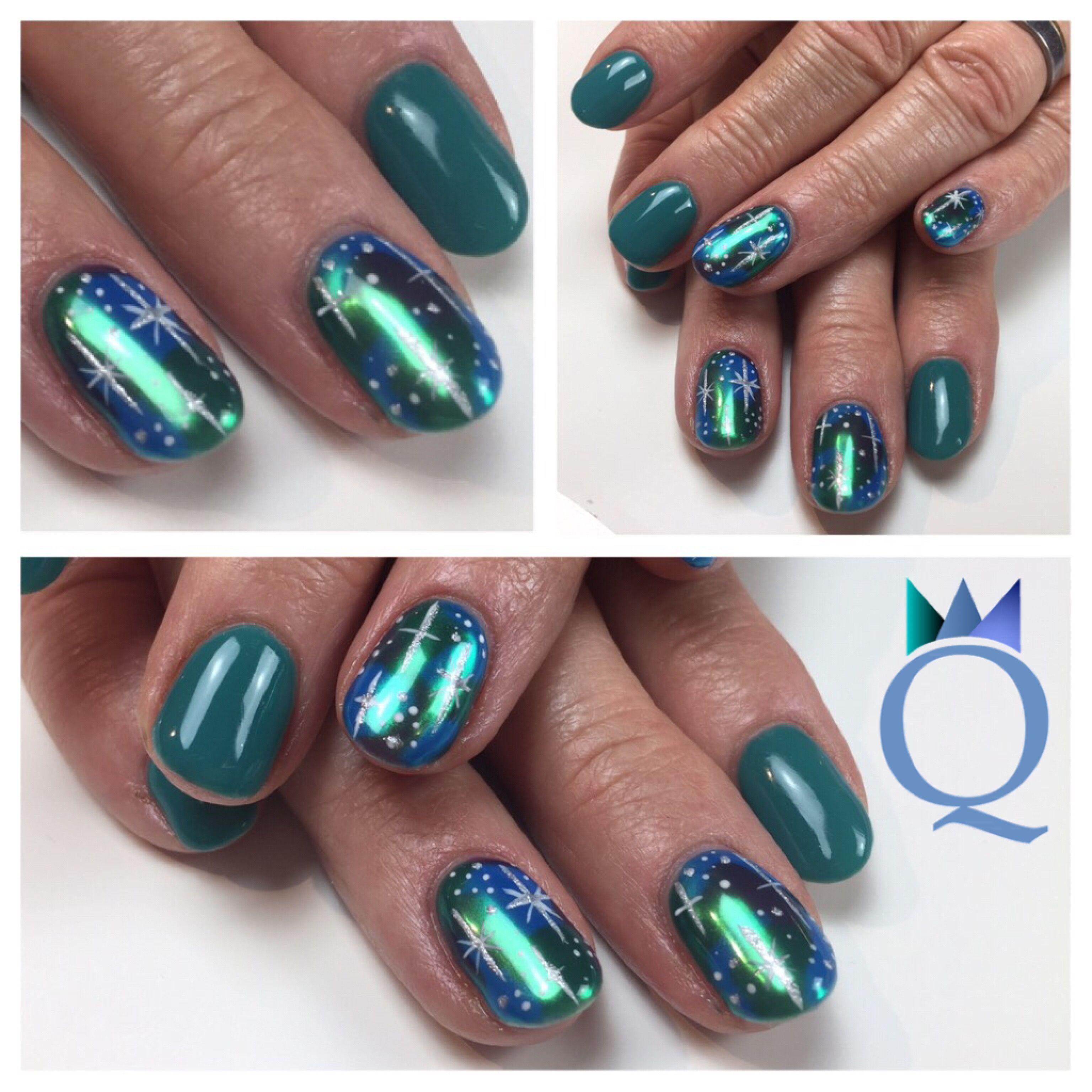 shortnails #gelnails #nails #handpainted #galaxynails #turquoise ...