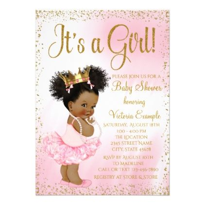 Pink gold african american princess baby shower card baby gifts pink gold african american princess baby shower card baby gifts child new born gift idea negle Choice Image