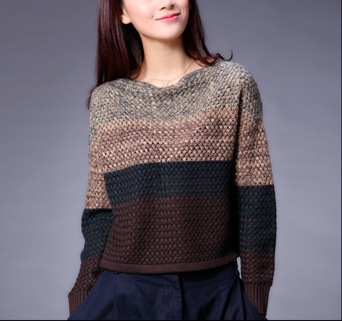 New Autumn Winter Vintage Casual Crocheted Long Sleeve Short Loose ...