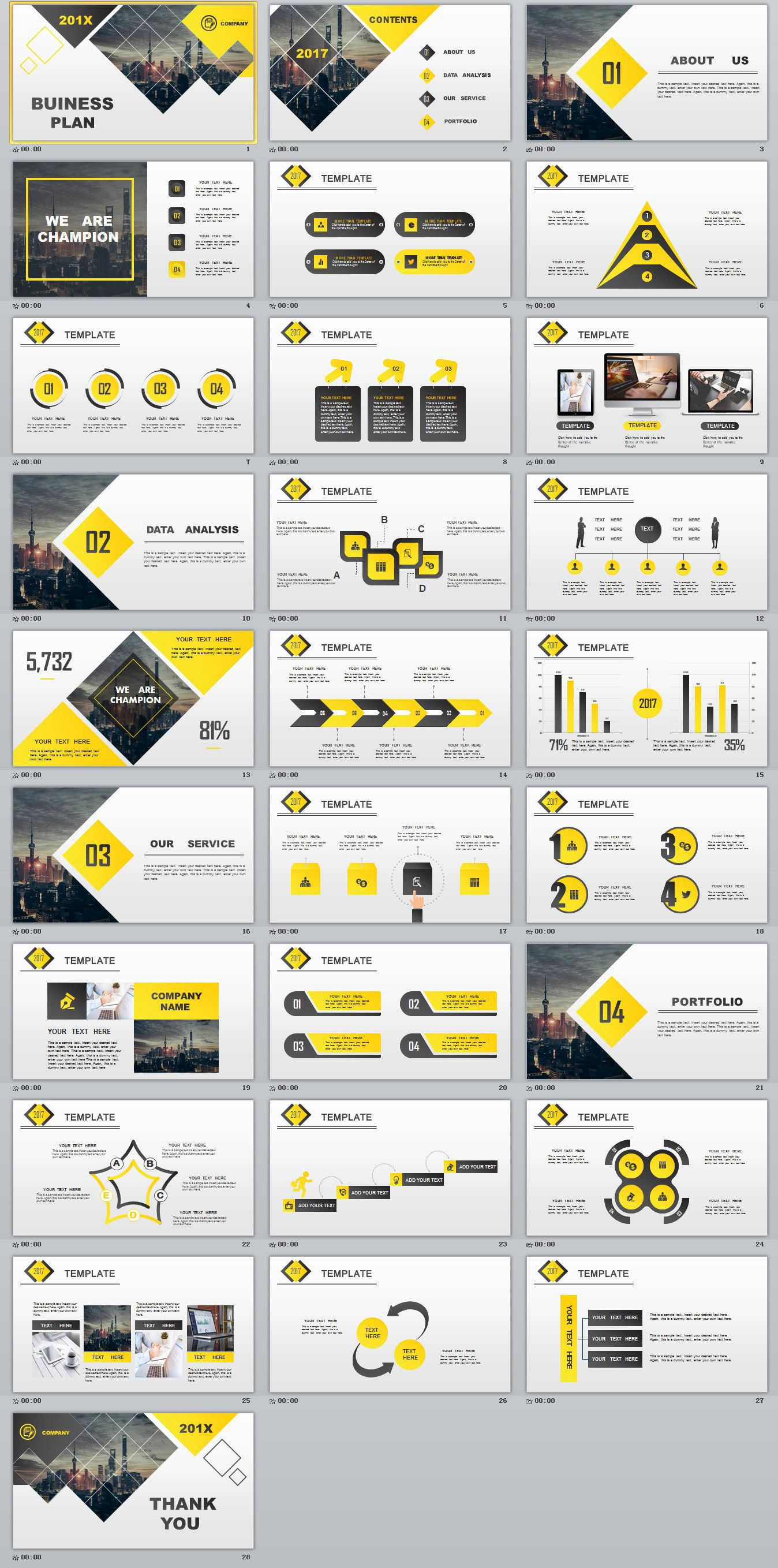 28  best yellow lowpoly business powerpoint template on behance