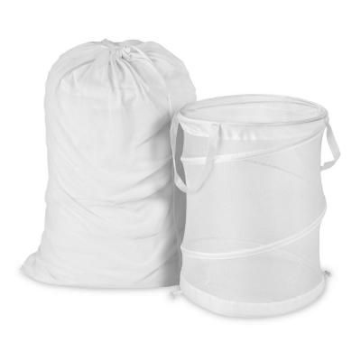Honey Can Do Mesh Laundry Bag And Hamper Kit In White Mesh