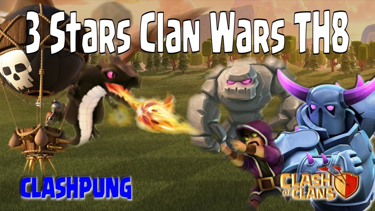 3 Stars Clan Wars Attack TH8 with Gowipe or Dragon Balloon