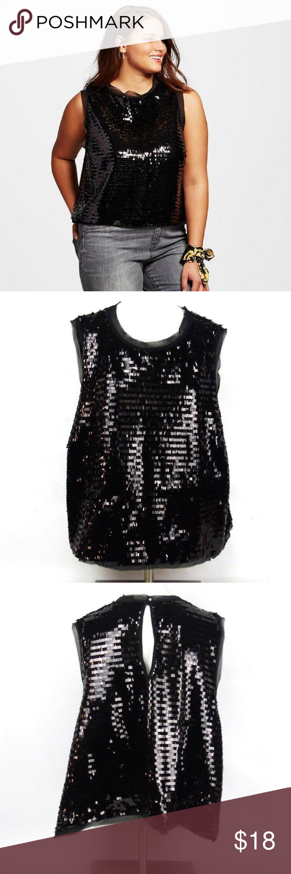 e797dcadc24abc Who What Wear Black Sequin Sleeveless Blouse Top Materials: Shell:100%  Polyester. Lining: 100% Polyester Cleaning and Care: Turn garment inside  out.