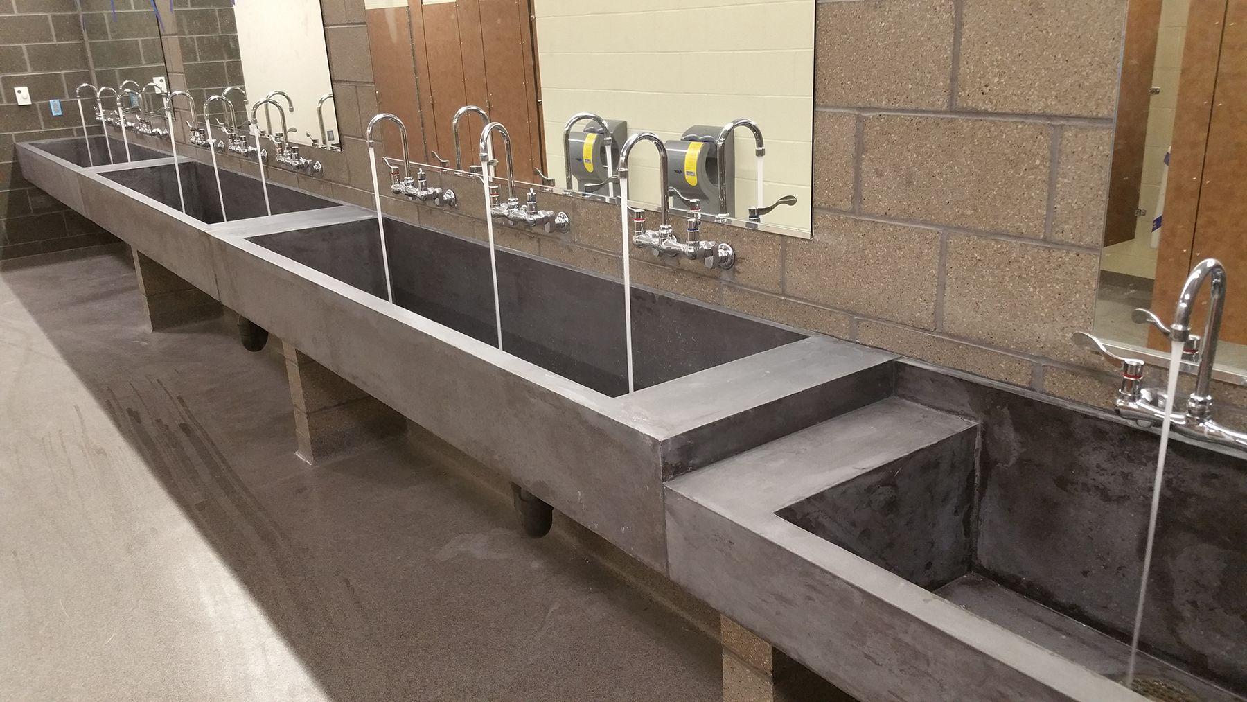 Commercial bathroom concrete trough sinks concrete sinks - Commercial bathroom vanity units suppliers ...
