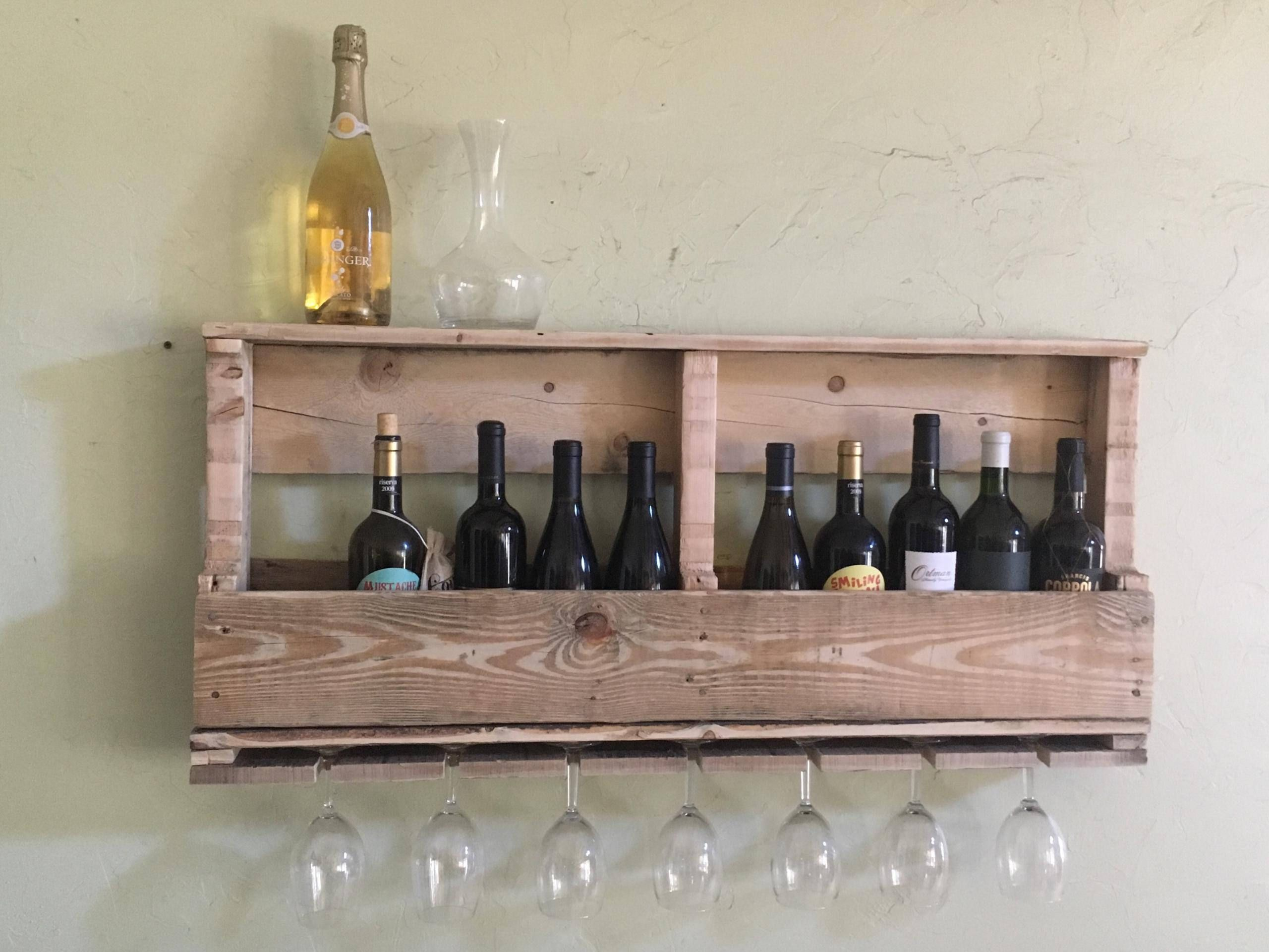 Rustic wood wine rack by TwoDirtyBirdies on Etsy