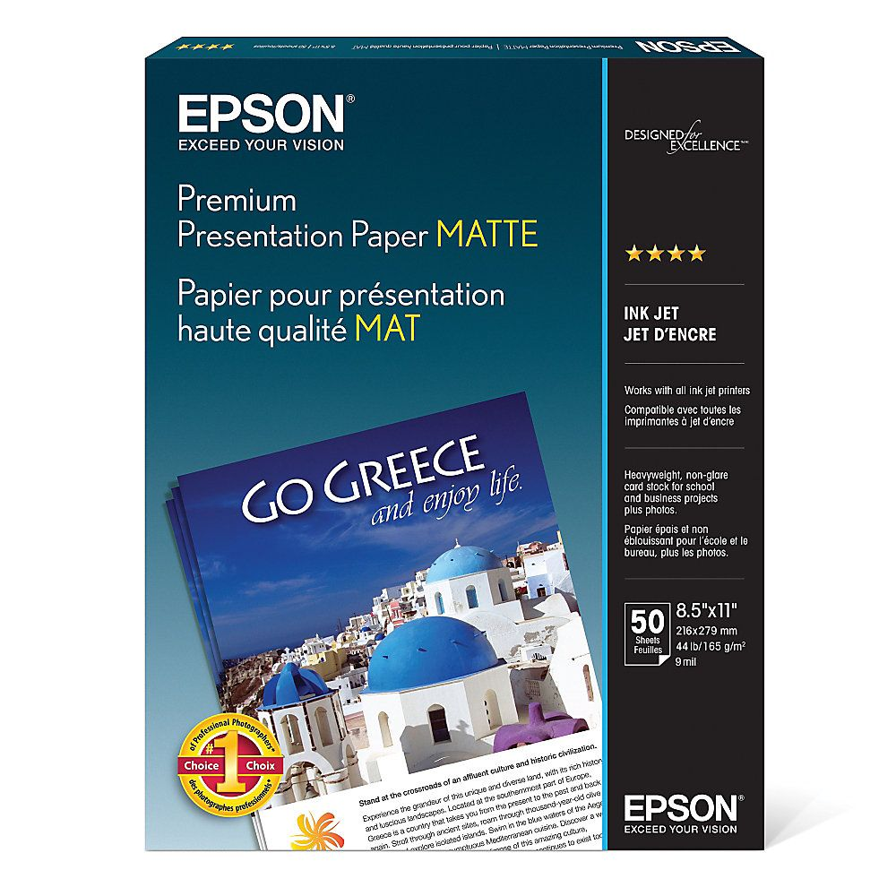 Epson Premium Presentation Paper 8 12 x 11 45 Lb Pack Of