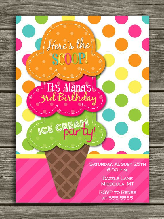 Ice Cream Birthday Invitation FREE Thank You By DazzleExpressions Via Etsy