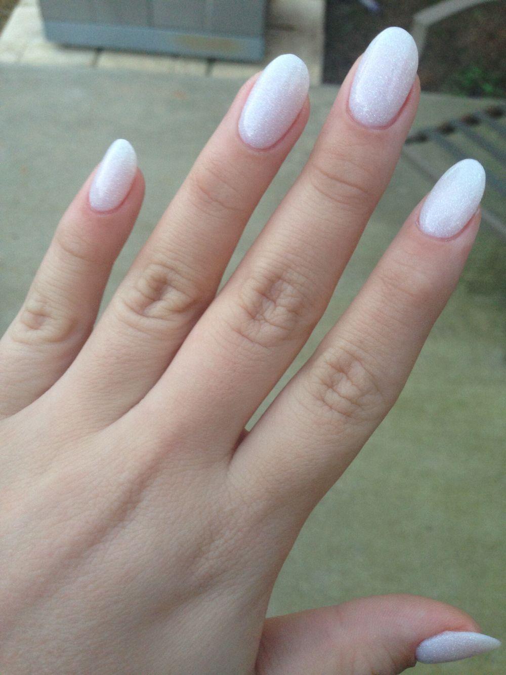 White Glitter Oval Shape Oval Nails Oval Acrylic Nails Round Nails
