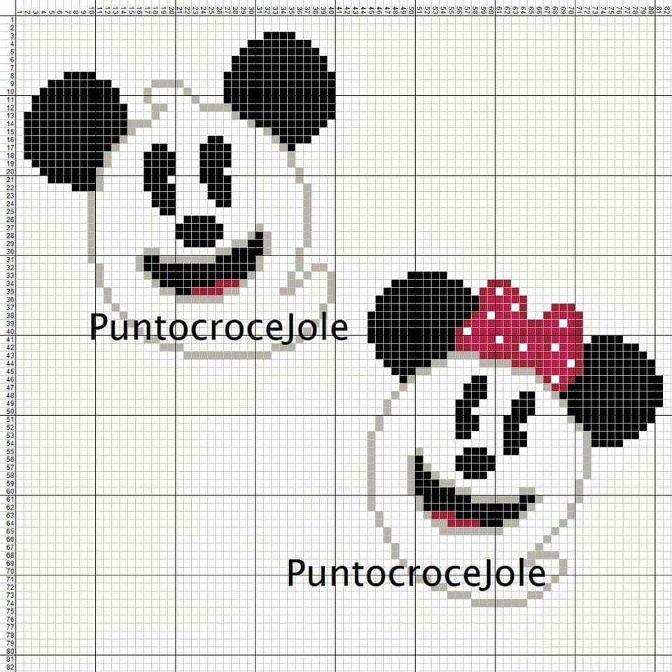 Minnie and Mickey Mouse x-stitch ghost