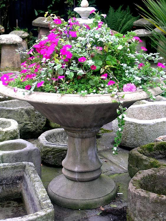 English Garden Large Old Cast Stone Planter From