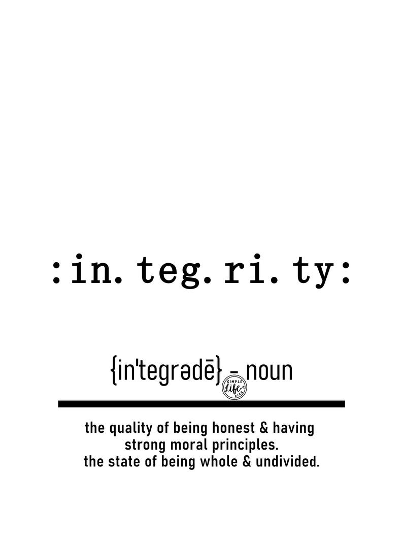 Integrity Definition Digital Print, Digital Download