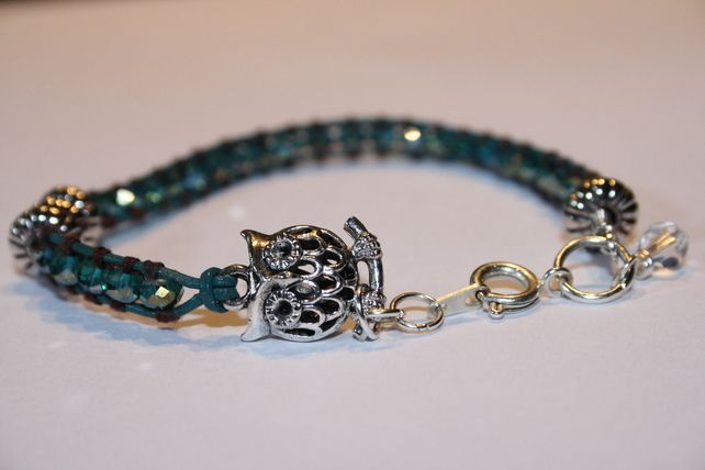 wrapped bead owl charm bracelet £10.00