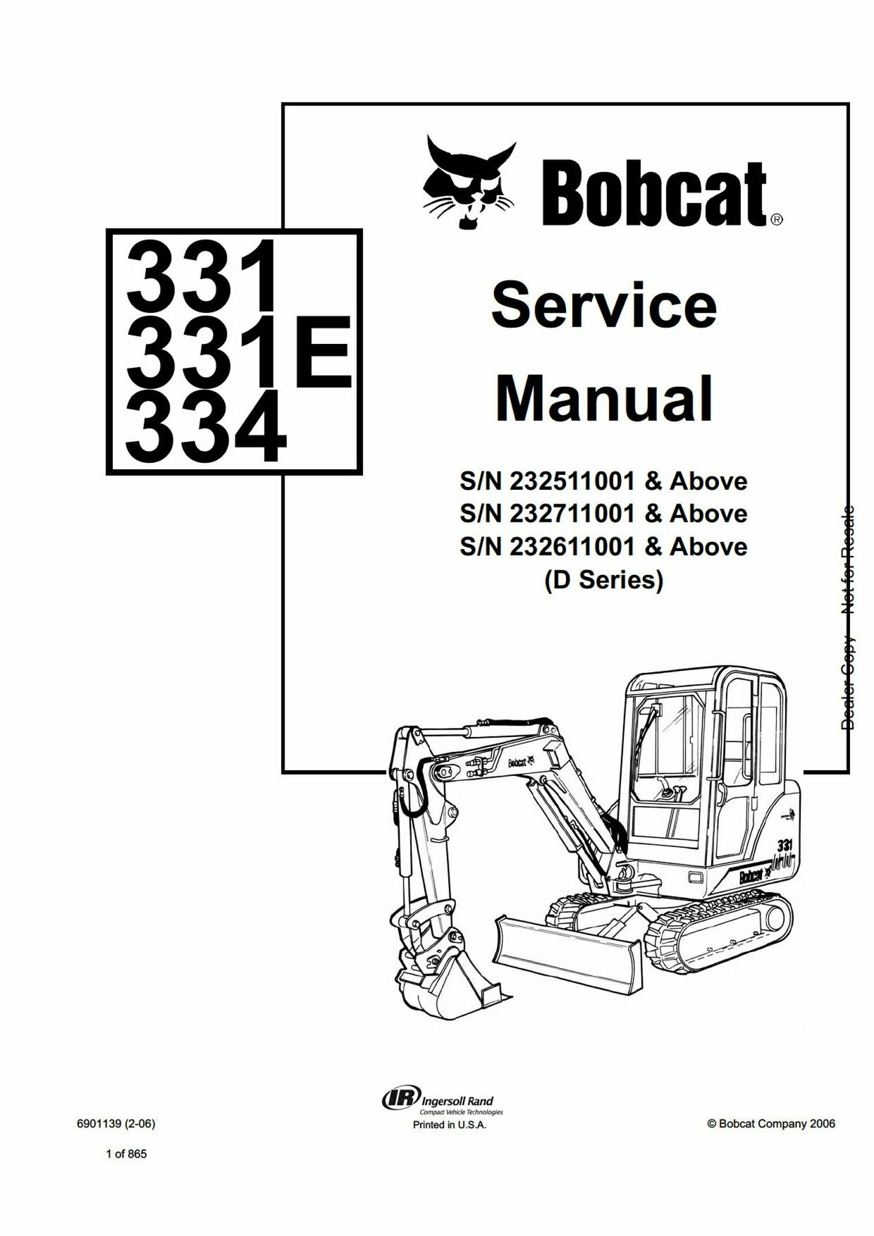 hight resolution of pdf bobcat 331 331e 334 compact excavator service manual sn 232611001 and above