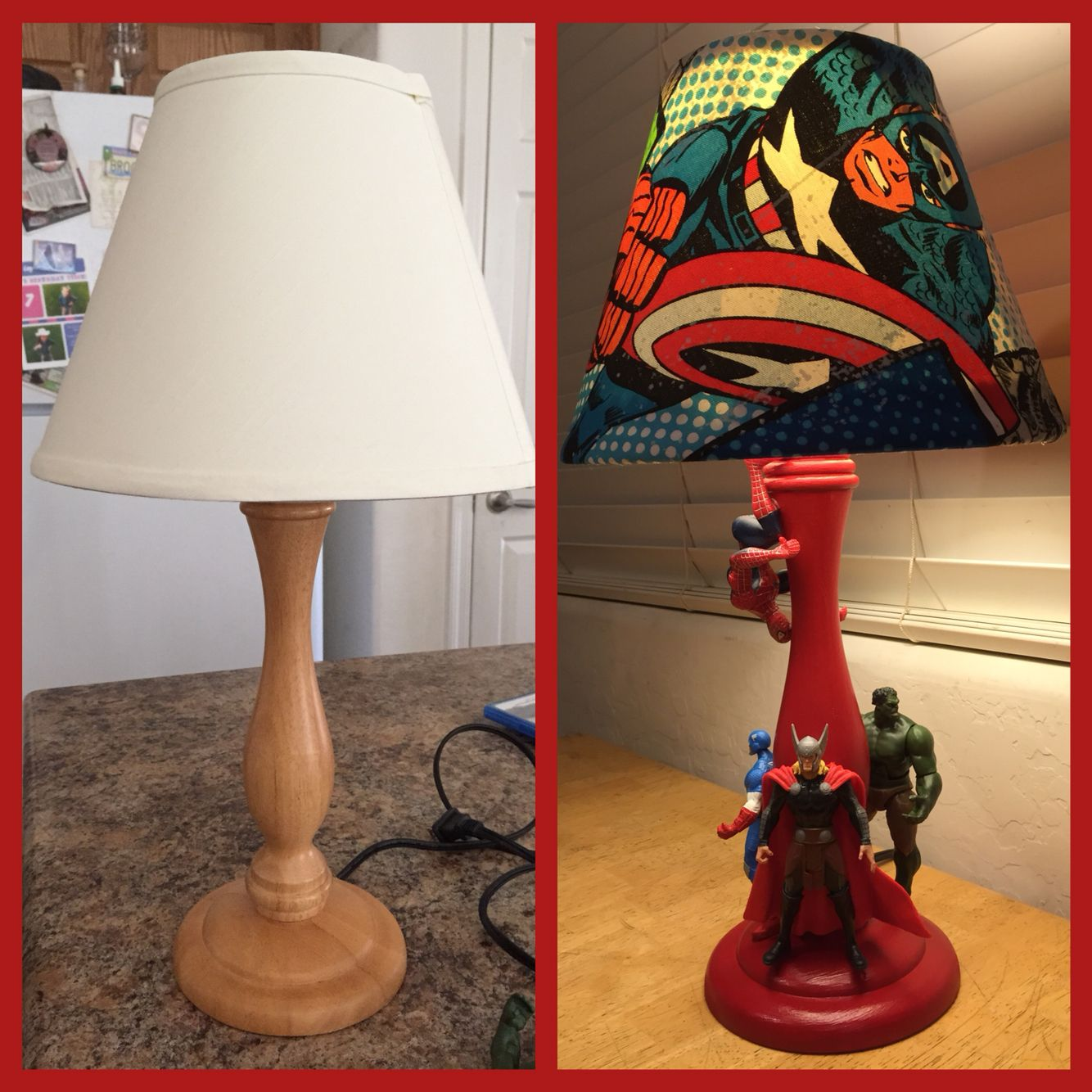 Boys Superhero Room Decor: Superhero Lamp. Before And After Diy. Up-cycle.