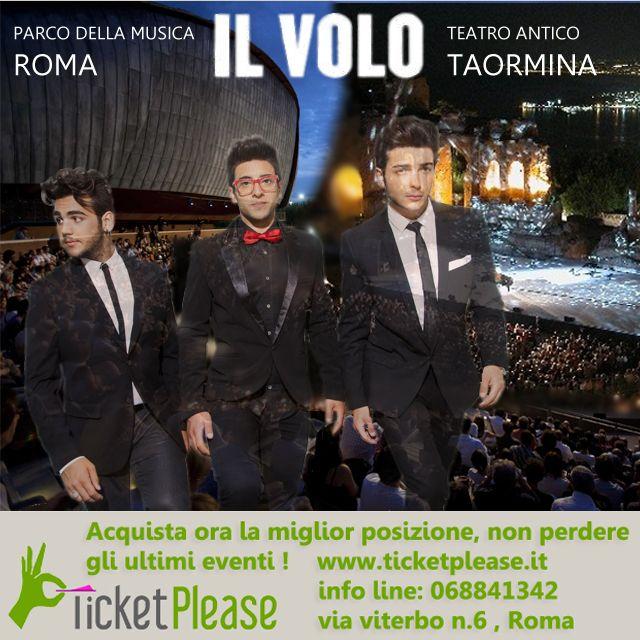 """"""" IL VOLO """"   Auditorium Parco della Musica - Cavea 22-23-24/06/2015  Teatro Antico di Taormina 22-23/08/2015,   info line: 068841342  Vieni a trovarci presso """" TICKETPLEASE"""" via Viterbo n.6, Roma. www.ticketplease.it  #ILVOLO #TAORMINA #TRIO #GRANDEAMORE @ilvolomusic #roma #taormina #twitter #IlVolo #ilvoloversdelmundo #ilvolomundialoficial"""