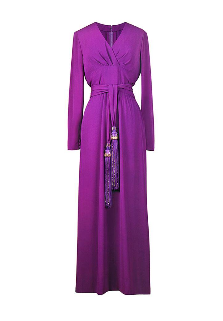 Elegant vintage floor length Christian Dior gown in violet-coloured crepe  silk. Slim silhouette 113f3ddfacc