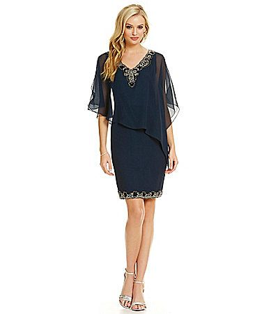 Jkara VNeck Beaded Asymmetrical Sheath Capelet Dress #Dillards ...