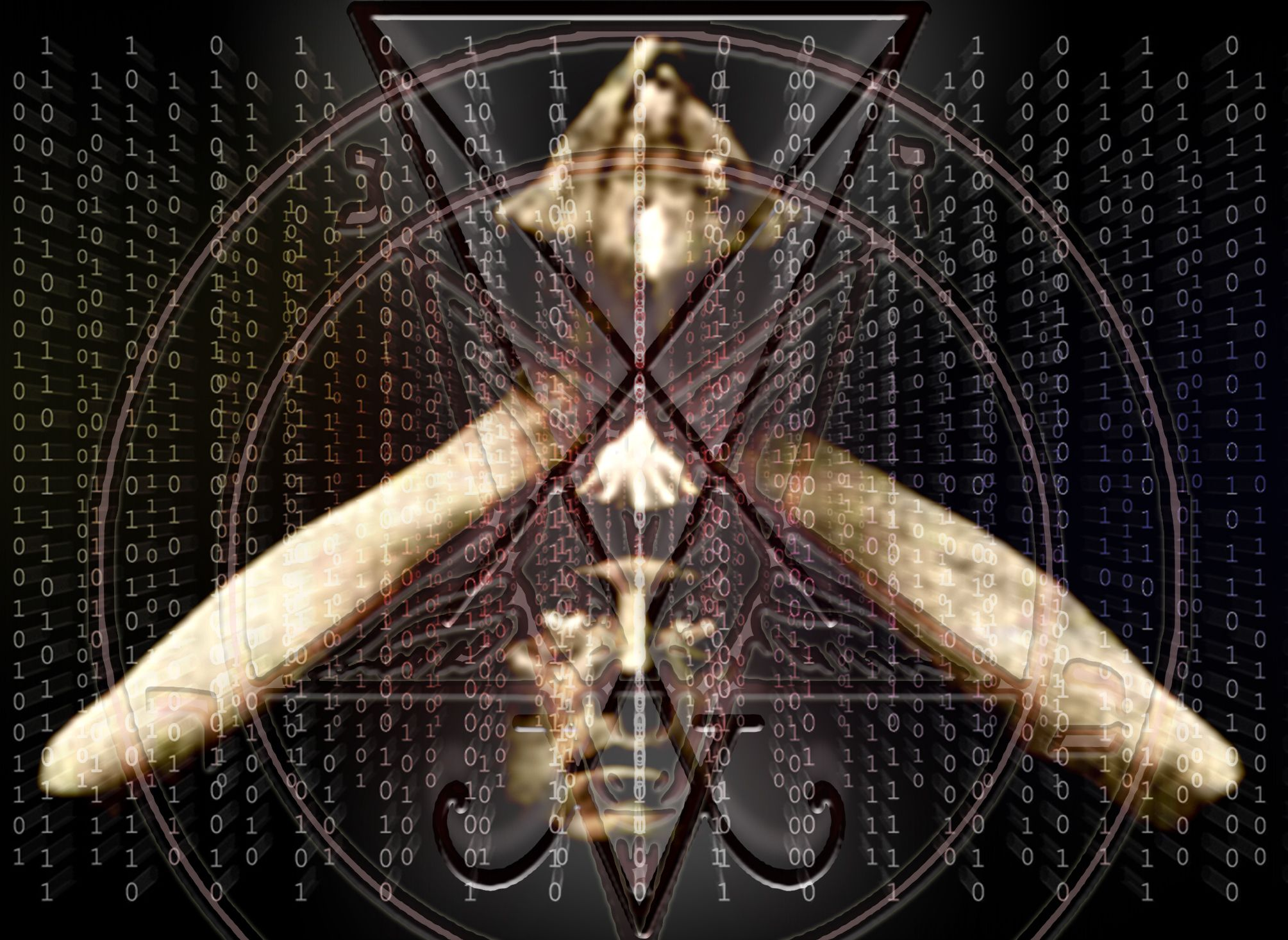 aleister_crowley overlaid with satanic & Matrix imagery