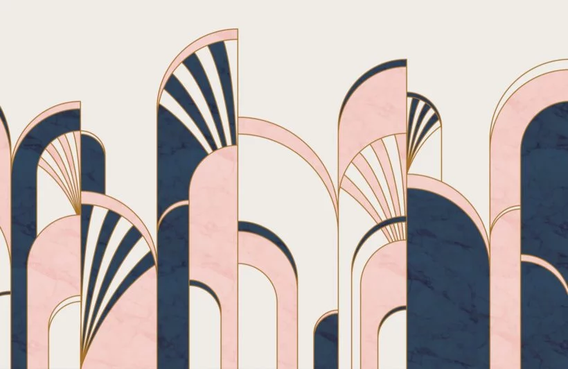 Blue & Pink Art Deco Print Wallpaper | MuralsWallpaper