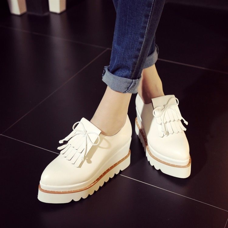 Women's Hidden Wedge Heel Casual Slip On Athletic  Fashion Sneakers Brogue Shoes