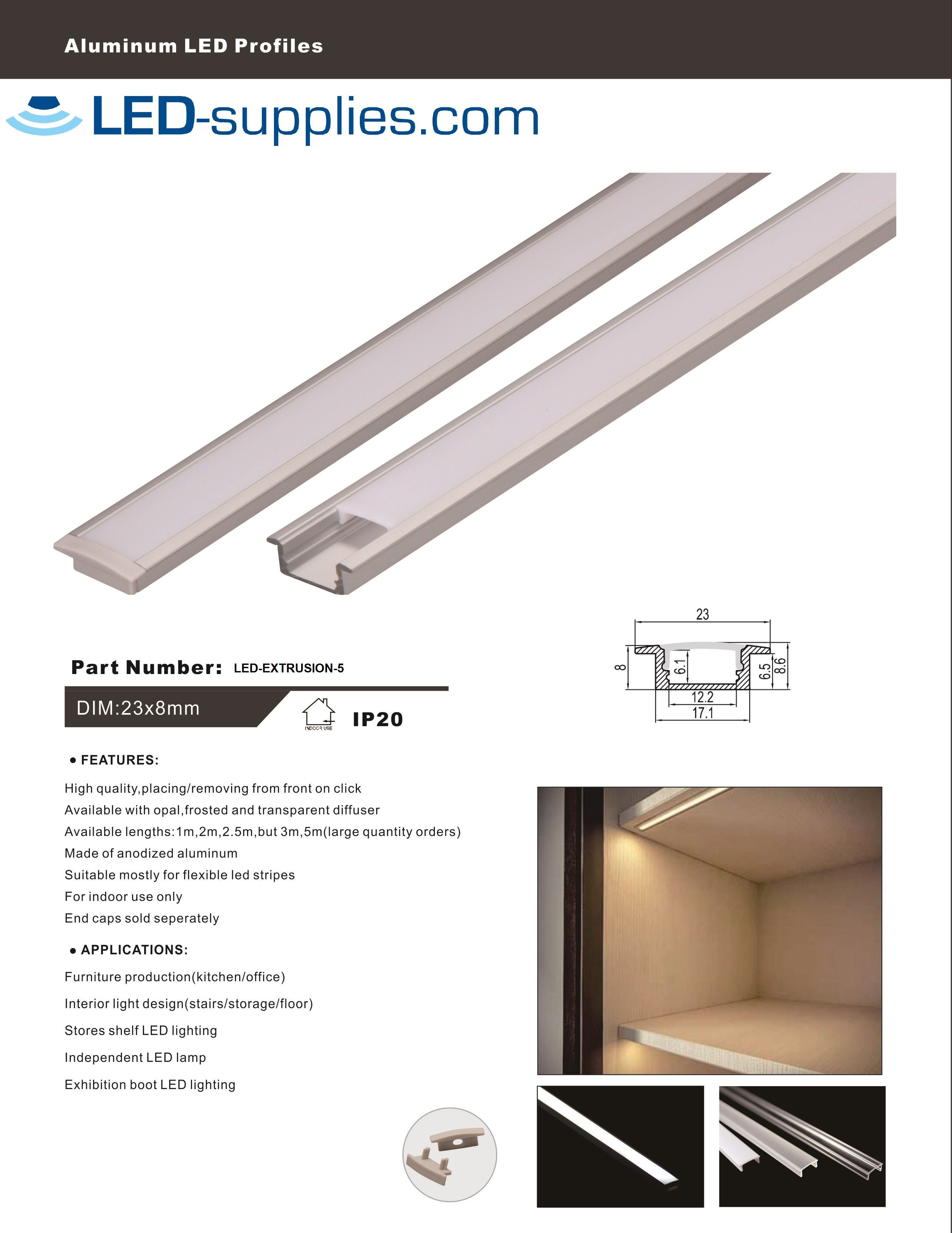 on sale 7fa20 a7f02 Recessed Aluminium Extrusion Channel for LED strip - Low ...