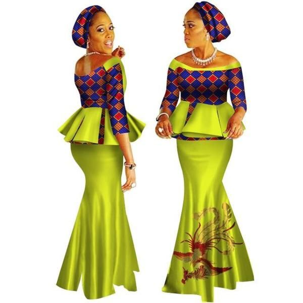 African Style Top and Long Skirt For Women Cotton Print Kitenge Ankara X11000