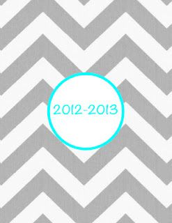 Printable grey chevron with turquoise text binder covers and dividers.  FREE!