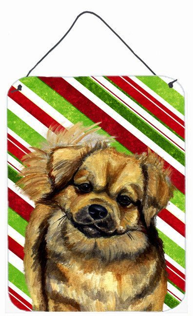 Tibetan Spaniel Candy Cane Holiday Christmas Wall or Door Hanging Prints