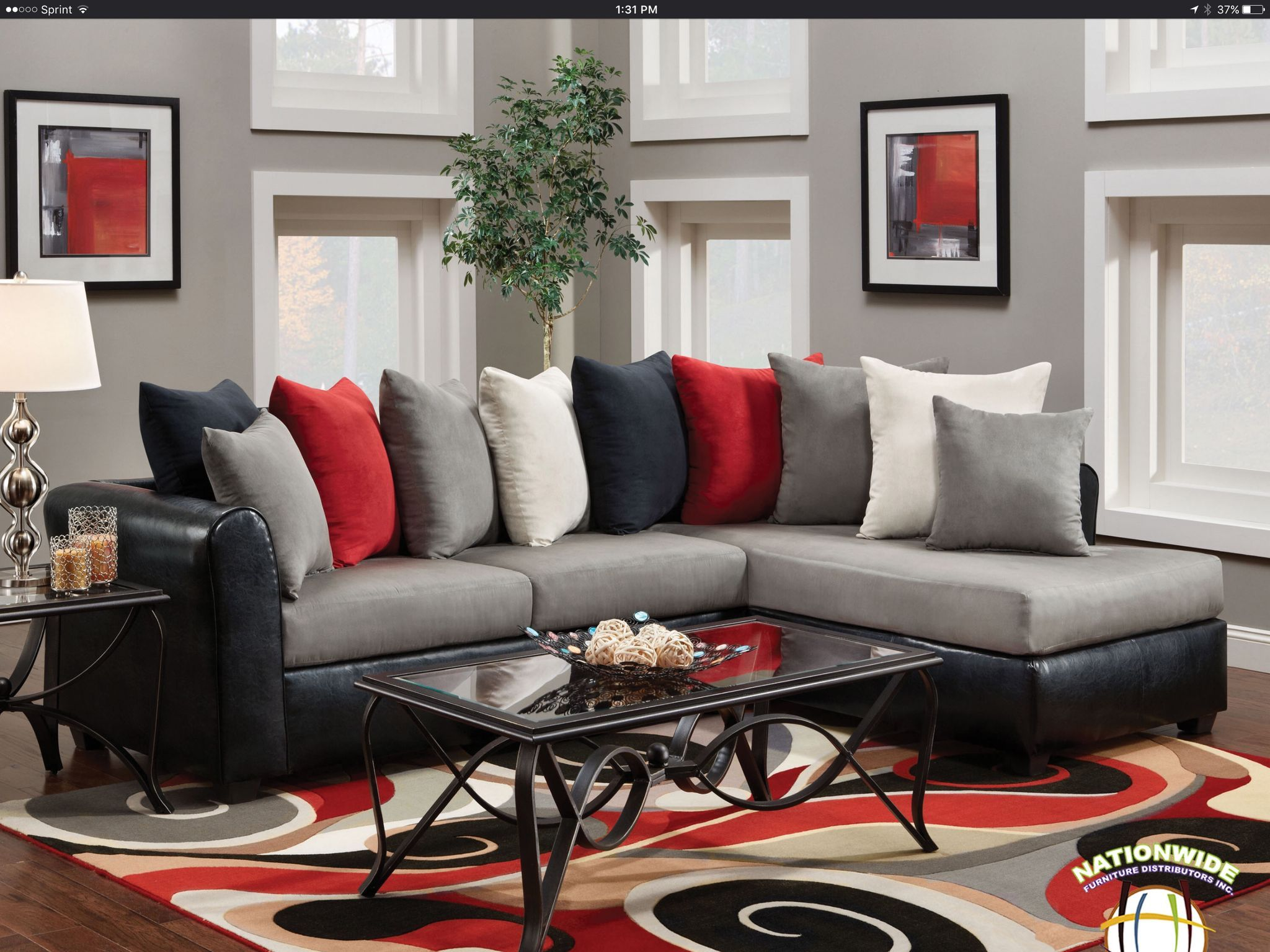 Abbey Sectional by HD Furniture is part of Living Room Couch Red -  Modern style two piece Sectional in a multi colored fabric combination  Reversible grey micro fiber seat cushions with alternating color removable back cushions  Black pu fabric on outside arms and backs LSF W71''xD37''xH34'' RSF W78''xD37''xH34''