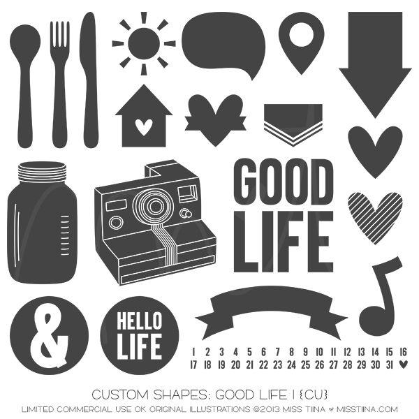 Good Life 1 Shapes ·CU· | Silhouette Cameo Files + Cut Paper + Art ...